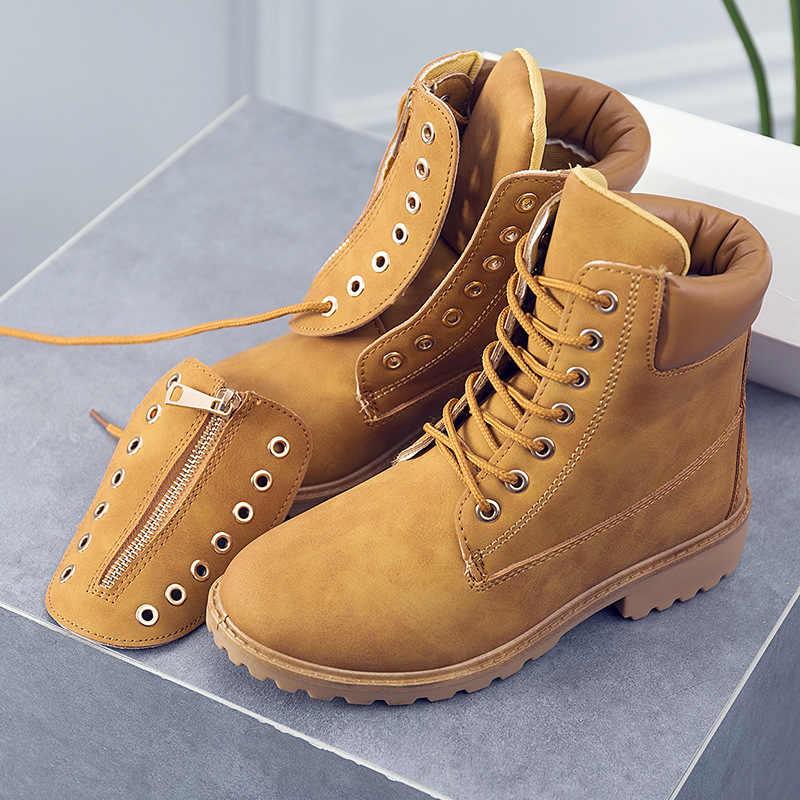 HEE GROTE 2018 Nieuwe Vrouwen Mode Laarzen Winter Schoenen Slip op Waterdichte Vamp Platform Enkellaars Mujer Schoenen XWX7478