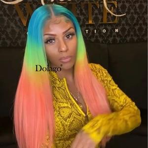 Image 3 - Spitze Front Menschliches Haar Perücken Regenbogen Farbige Gerade Spitze Frontal Perücke Brasilianische Transparent Volle T Farbe Spitze Dolago Bunte Perücke