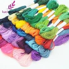 Lucia artesanato 6 pçs/lote 7m âncora ponto cruz linha de costura bordado algodão w0101