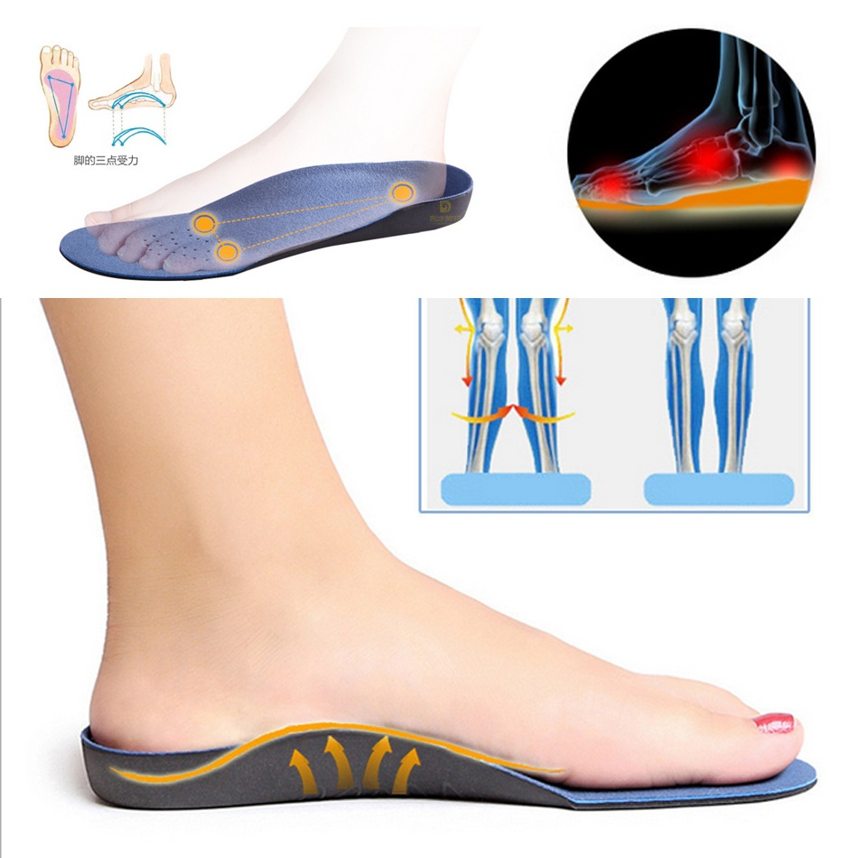 High Arch Supports Shoes Insoles For Flatfoot Cubitus Varus Orthopedic Feet Cushion Pads Care Size 35-46
