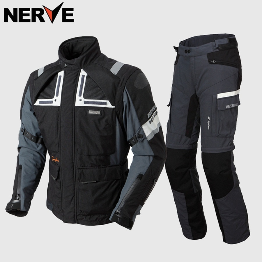 1set Motorbike Jacket Motorcycle Pants Four Season Waterproof Winter Reflective Light Textile Cordura Jacket CE Armoured Coat Luggage & Bags cb5feb1b7314637725a2e7: Dark Grey|dark grey pants|dark grey suit|grey pants|grey suit|Grey