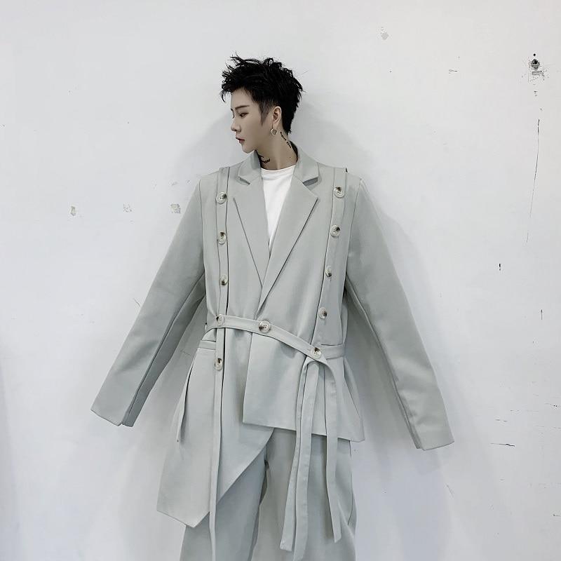 Men 2 Pieces Sets Asymmetric Design Ribbon Casual Suit Jacket Pant Male Women Fashion Show Blazer Coat Trousers Stage Clothes