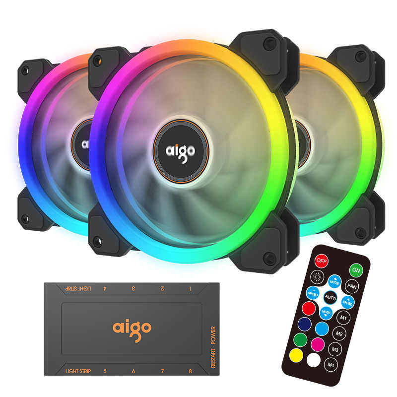 Aigo DR12-ventilateur de refroidissement pour ordinateur, 3 pièces, coque d'ordinateur pièces, réglable LED 120mm, silencieux + télécommande IR, ventilateur de refroidissement pour boîtier CPU RGB