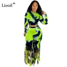 Liooil Green Tassel Bodycon Women Two Piece Outfit Tie Dye S