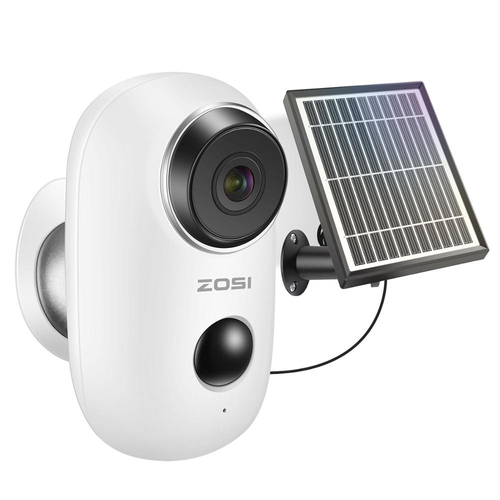 Zosi recarregável alimentado por bateria ip câmera de carregamento de energia solar 720 p/1080 p hd ao ar livre sem fio câmera de segurança wi-fi