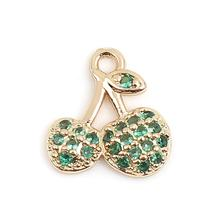 Doreen Box Zinc Based Alloy Micro Pave Charms Cherry Fruit Gold Color Metal Rhinestone DIY Pendants Jewelry 10mm x 9mm, 5-10 PCs цена 2017