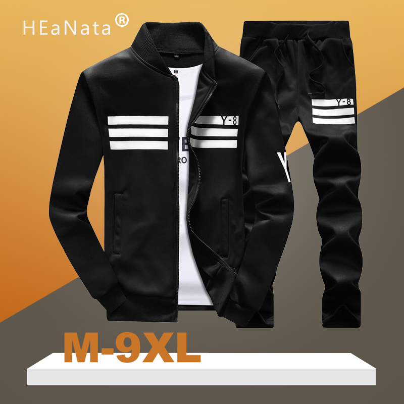 M-9XL Men's Sportswear Suit Casual Long-Sleeved Jackets+Sweatpants Two Pieces Tracksuit Sets Gym Bodybuilding Hombres Ropa 2020