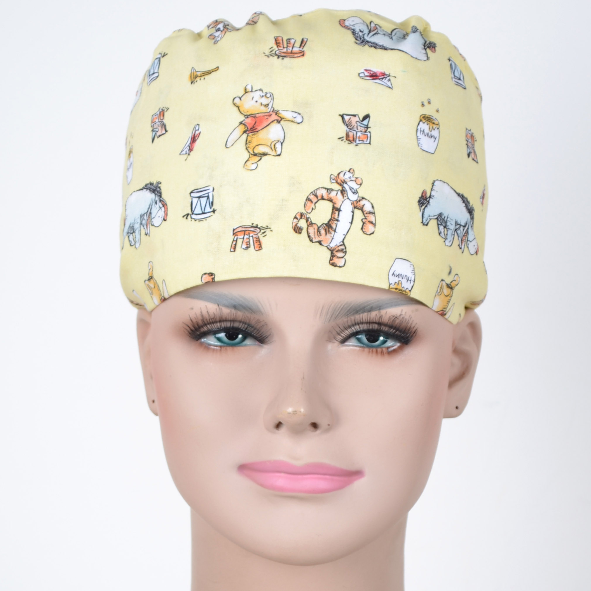 Hennar Wome Cotton Scrub Caps In Yellow With Bear Prints 100% Cotton  Hospital Medical Hats Print  Unisex Surgical Caps Mask