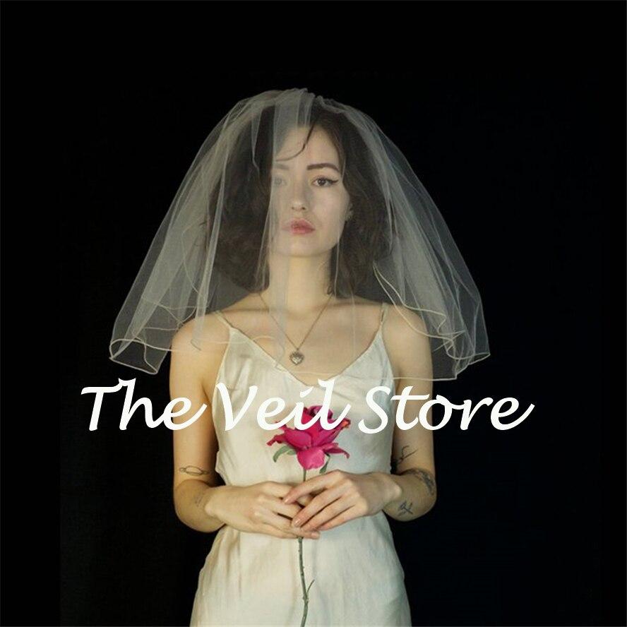 2019 White Ivory Short Tulle Bridal Wedding Veils For Bride With Comb Mini 2layers Voile De Mariee Mariage Courte Velo De Novia