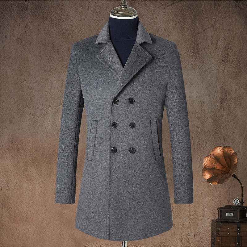 Wool Coat Jacket Autumn XL Thick Double-Breasted Plus-Size Winter Casual Mens Padded