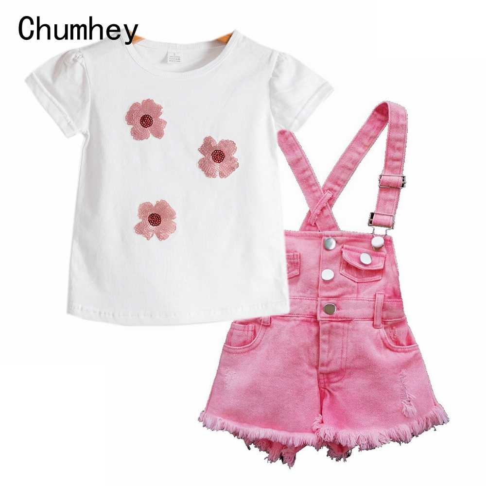 Chumhey Kids Girl Overalls Summer Girls Suspender Denim Shorts Pink Jeans Children Clothes Kawaii Bebe Jumpsuit Child Clothing