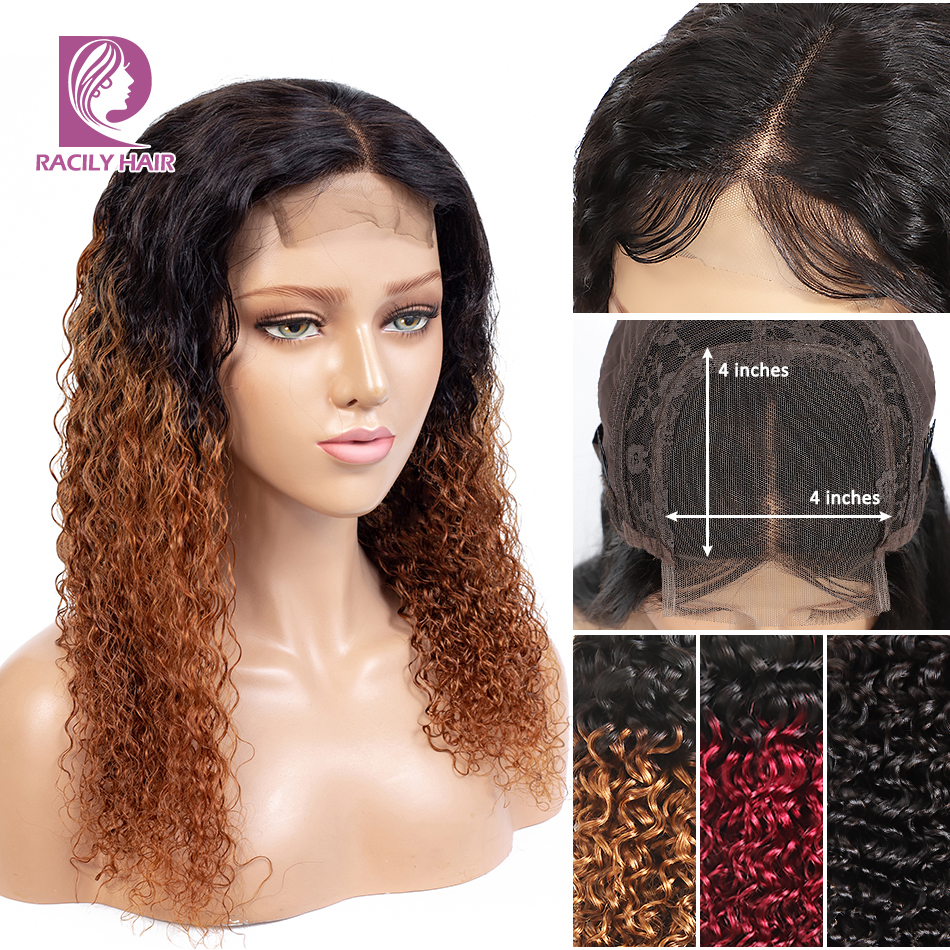 Racily Hair Ombre Lace Closure Wig Remy 4x4 Lace Closure Human Hair Wigs Pre Plucked Brazilian Kinky Curly Wig For Black Women