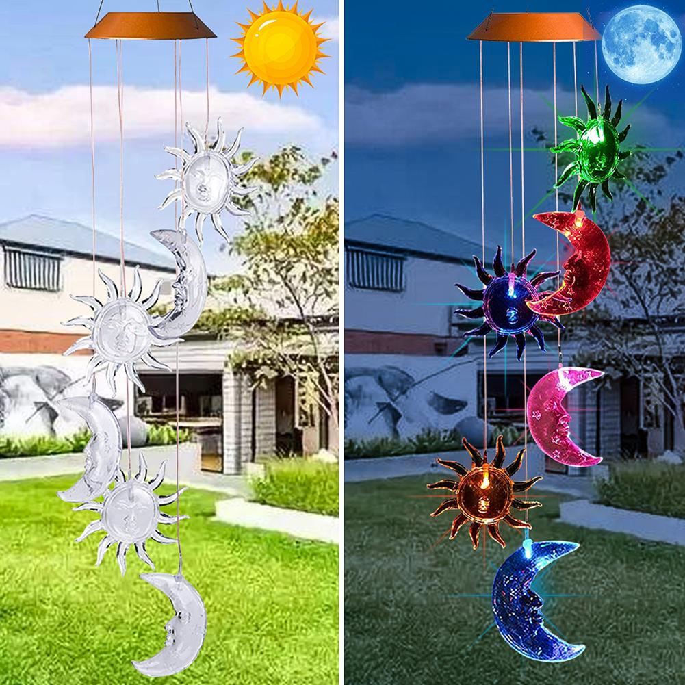 Outdoor Solar LED Sun Moon Wind Chime Light Waterproof Non-fading Invariant Garden Yard Hanging Lamp For Indoor Decoration