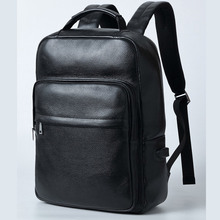 Men Genuine Leather Backpack USB External Charge 15.6 Inch Laptop Backpack Shoulders Men Waterproof Travel School Backpack Bags