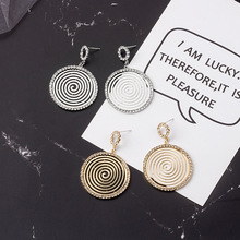 цена HelloMissExaggerated hollow geometric spiral crystal earrings punk silver needle stud earrings fashion women's earrings jewelry в интернет-магазинах