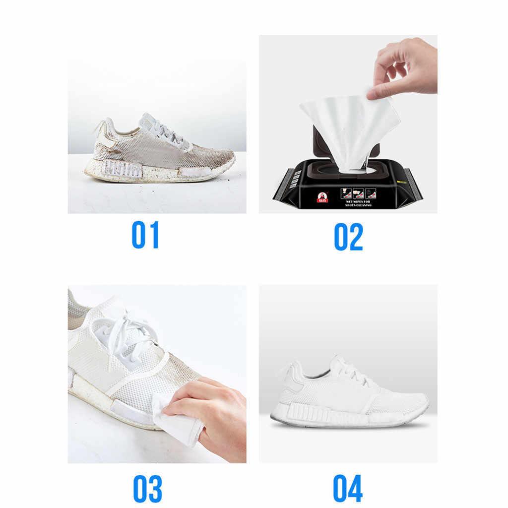 12/30 compresse Bianche scarpe di pulizia Salviettine Umidificate Artefatto Scarpe Da Ginnastica di Viaggio Portatile Usa E Getta non tessuto asciugamano scarpa Spazzole Da Scarpe Pulire