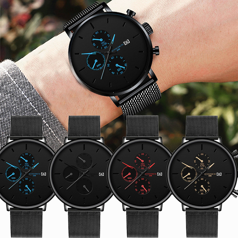 Men's Watch Business Alloy Mesh Ultra Thin Mysterious Black Blue Pointer Three Eye Dial Male Simple Casual Clock Reloj Hombre