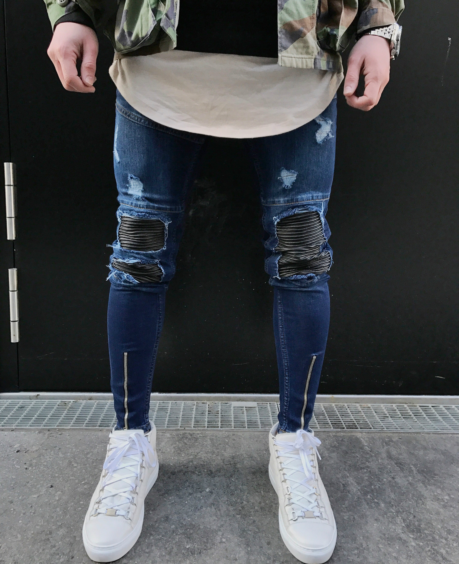 2018 Jeans Europe And America MEN'S Jeans Blue Fight Skin With Holes MEN'S Pants Trend Skinny Pants