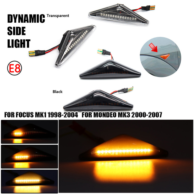 Smoked Lens Amber Yellow Full LED Front Fender Side Marker Lights For Ford Focus MK1 1998 2004 For Mondeo MK3 2000 2007