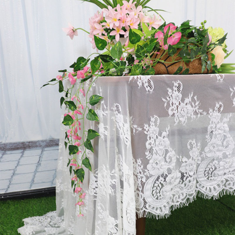 New Flower Lace Embroidered Tablecloth White Rectangular Decorative Tablecloth Retro Lace Table Cloths Wedding Party Decor
