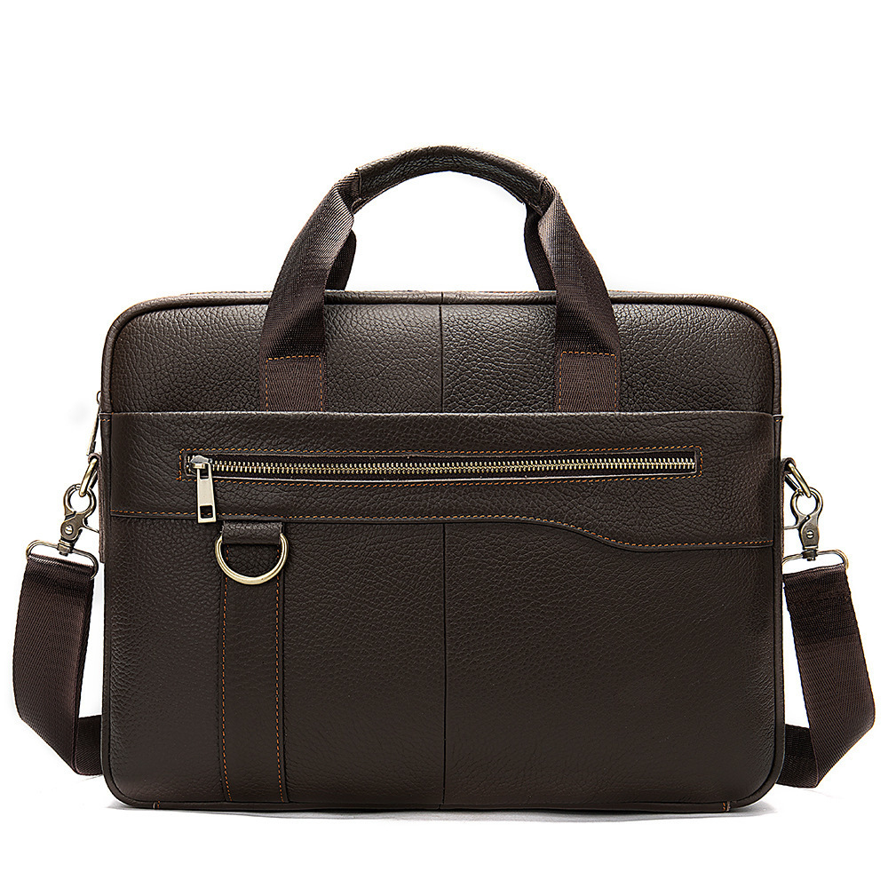 Man Leisure Briefcase Soft Genuine Leather Messenger Computer Office Bags For Men 14 Inch Cross Section Luxury Handbags Hands