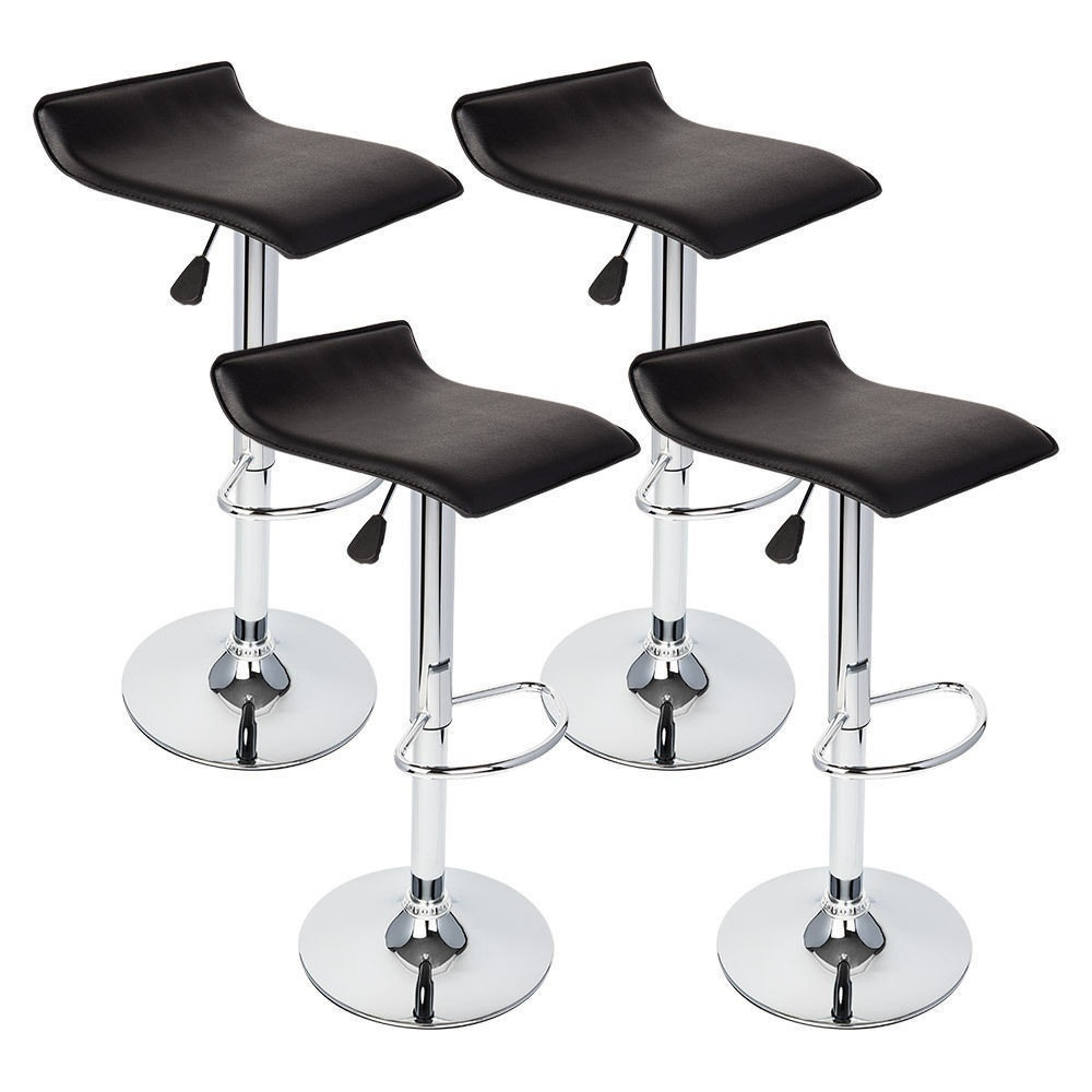 Set Of 4 Bar Stools PU Leather Adjustable Swivel Hydraulic Pub Chairs Home Black