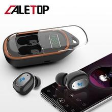 CALETOP TWS Bluetooth 5.0 Earphone LED Power Display Sport Headset with Microphone Handsfree Portable Earbud Anti Lost Hook