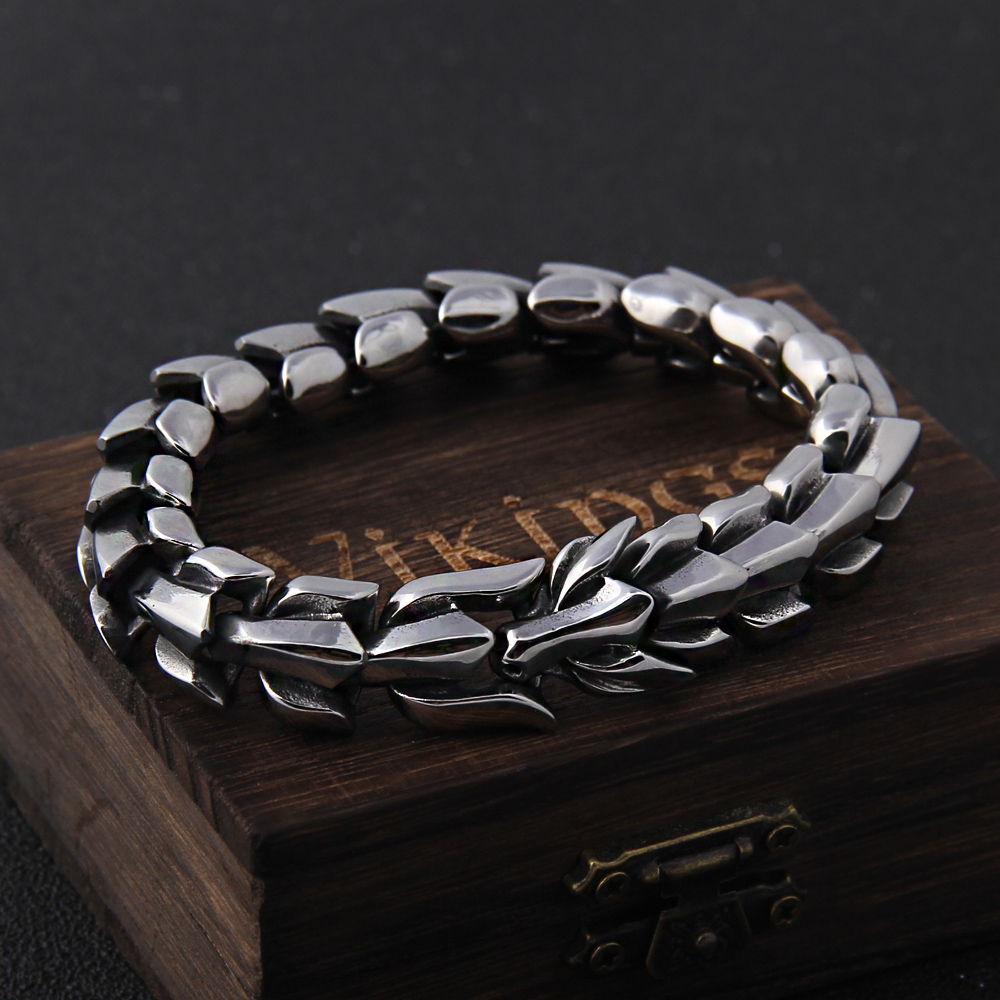 Viking Ouroboros vintage punk bracelet for men stainless steel fashion Jewelry hippop street culture