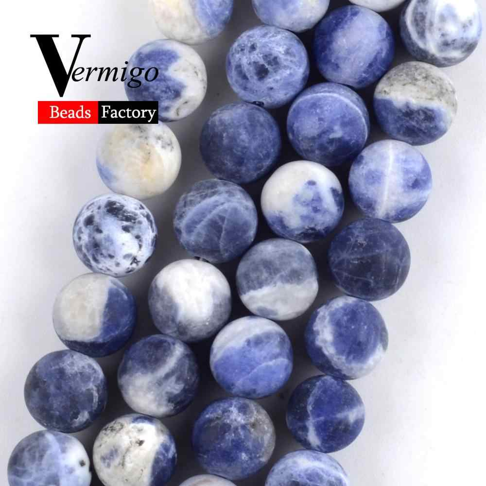 Natural Gem Dull Polished New Sodalite Minerals Stone Beads For Jewelry Making 4-12mm Round Beads Diy Bracelets Necklaces 15''