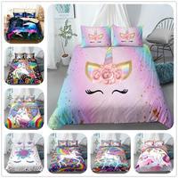 Destaque sorriso unicórnio rosa princesa capa de edredão conjunto rei rainha tamanho gêmeo completo roupa cama conjunto