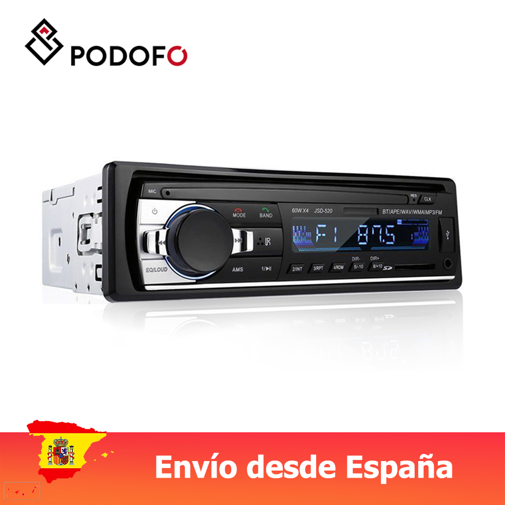 Podofo 1 Din Mobil Radio Stereo Bluetooth Remote Control Charger Ponsel USB/SD/AUX-IN Audio MP3 Pemain 1 din In-DASH Audio Mobil