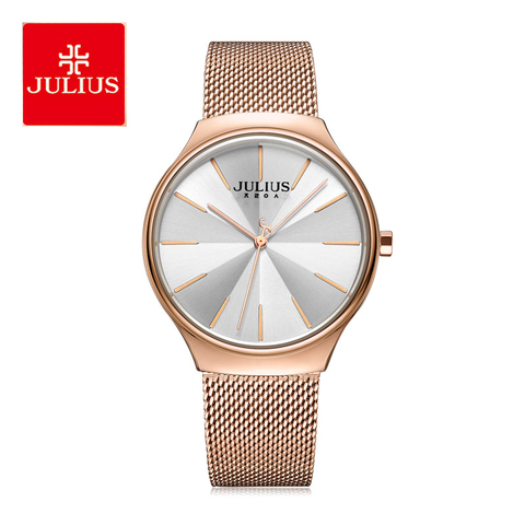 Relógio de Pulso Relógio de Quartzo Relógio de Negócios Julius Feminino Moda Grande Dial Aço Inoxidável Malha Correia Pulseira Relógios Senhoras Reloj
