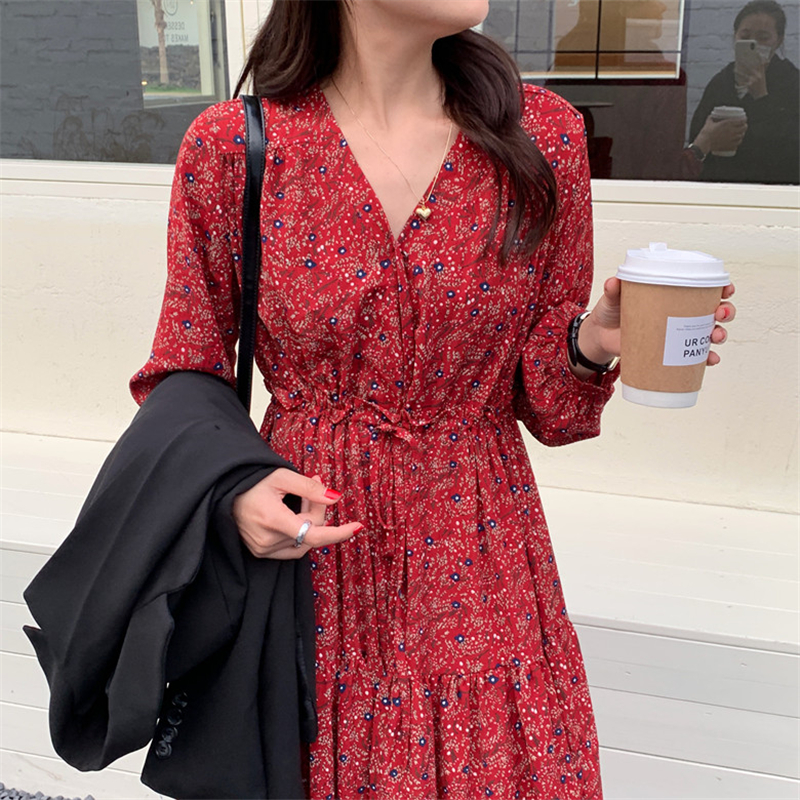 H09d97b5d7c7244bbad970de803cd5a6aM - Autumn V-Neck Lantern Sleeves Waist-Controlled Floral Print Midi Dress