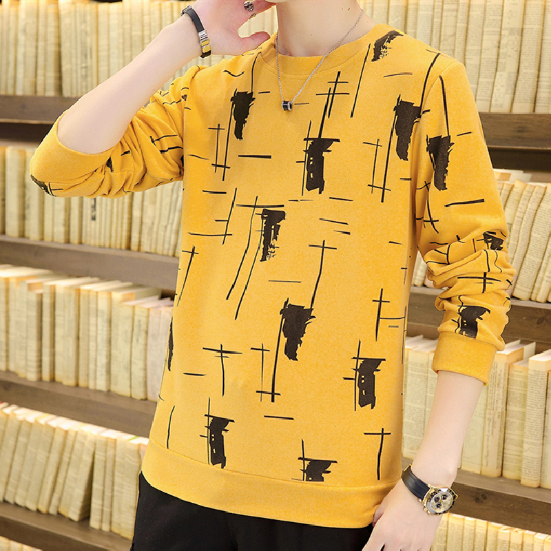 2021 Men's Autumn New Pullover Long Sleeve Slim Thin Casual Handle Hair Also Teenagers Soft Printed Knitted Bottoming Shirt 1