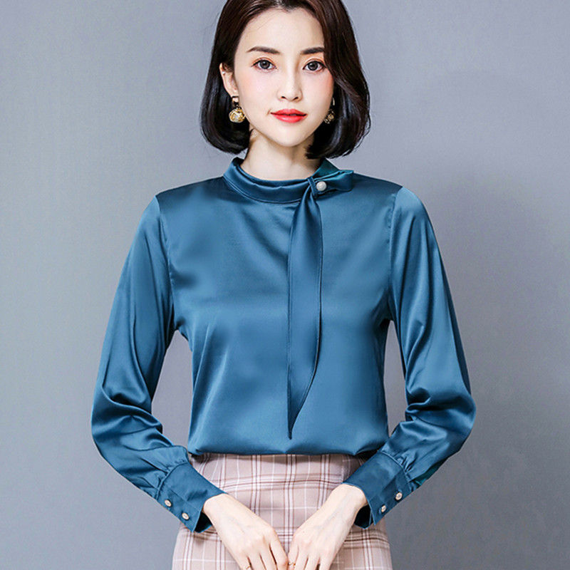 Korean Fashion Silk Women Blouses Woman Satin Blouse Shirts Plus Size Elegant Women Long Sleeve Blouse Tops Blusas Mujer De Moda