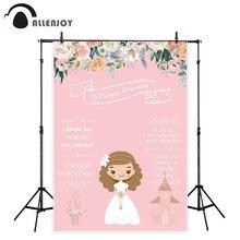 Allenjoy 初聖体装飾パーティー photophone 背景ピンクのフラワーガールの招待ボード背景 photobooth photocall