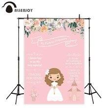 Allenjoy ראשון הקודש קישוט מסיבת photophone רקע ורוד פרח ילדה הזמנה לוח רקע תא צילום שיחת וידאו