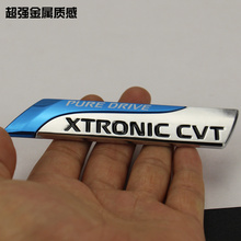 1pcs metal XTRONIC CVT Car tail trunk displacement sign stickers emblem car Badge for Nissan Bluebird SYLPHY Blue drive