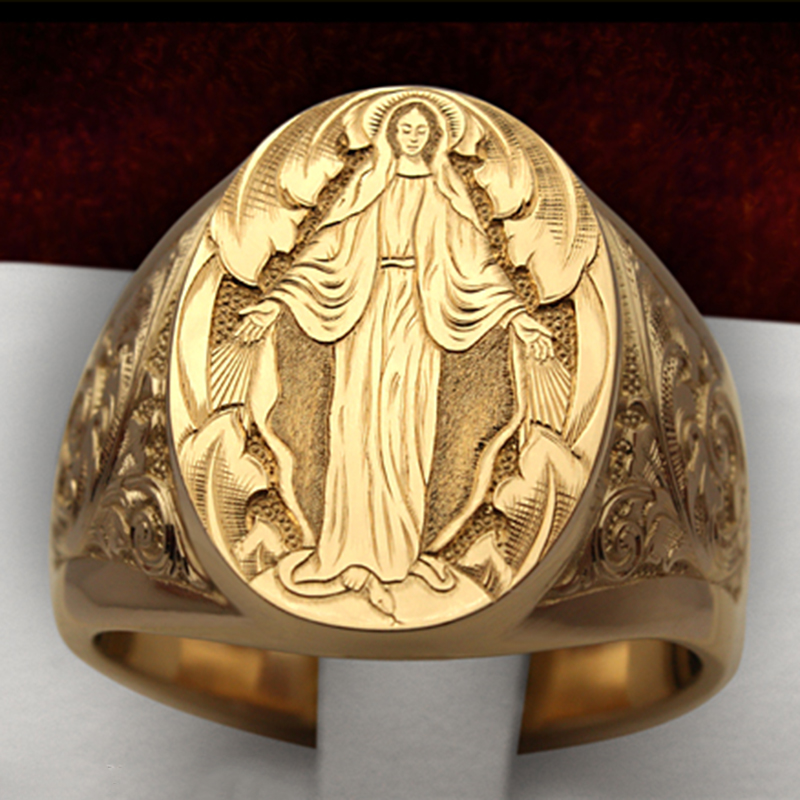 Vintege Punk Rings For Men Rock Virgin Mary Hand Engraving Memento Legend Myth Character Design Gold Color Retro Ring 03T754(China)