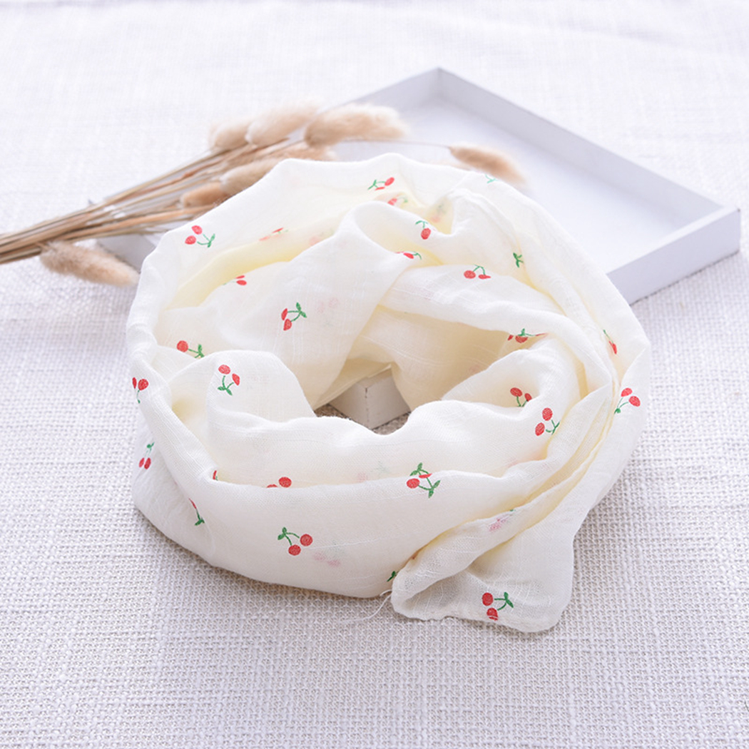 Baby Scarf 140cm Cute Crown Cherry Star Rabbit Pattern Printing Neck Scarf Cotton Linen Scarf Accessories Four Seasons Universal