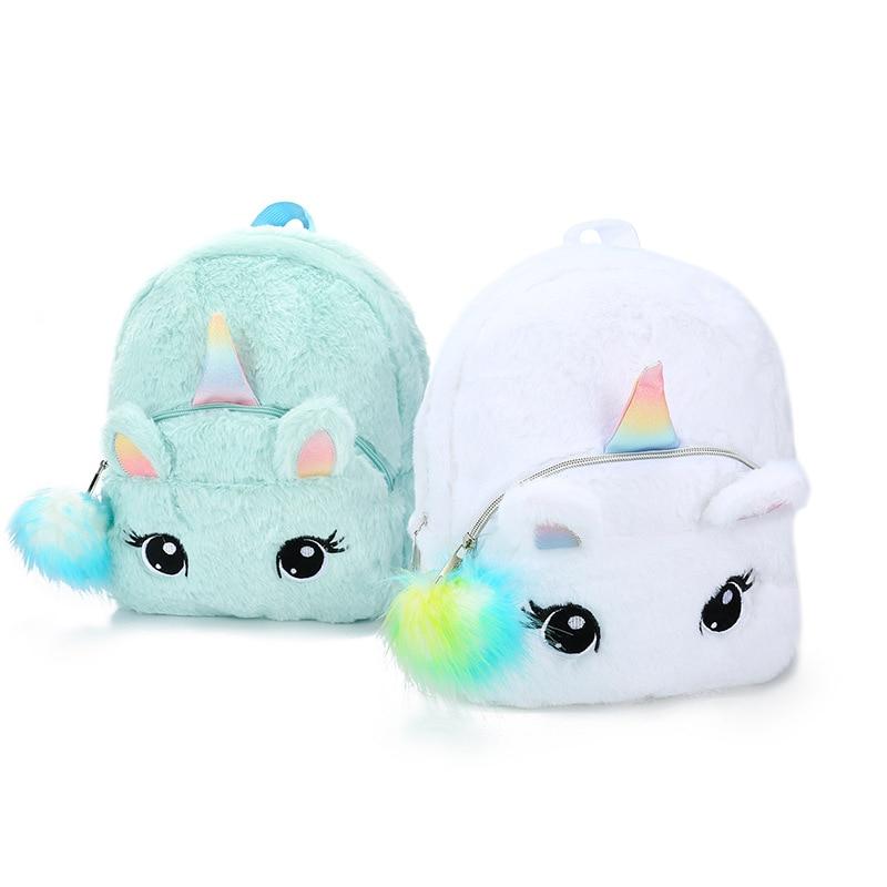 Plush Unicorn Backpack Fluffy Unicorn School Bag Baby Children School Bag Double Shoulder Bag For Kindergarten Girl Boy