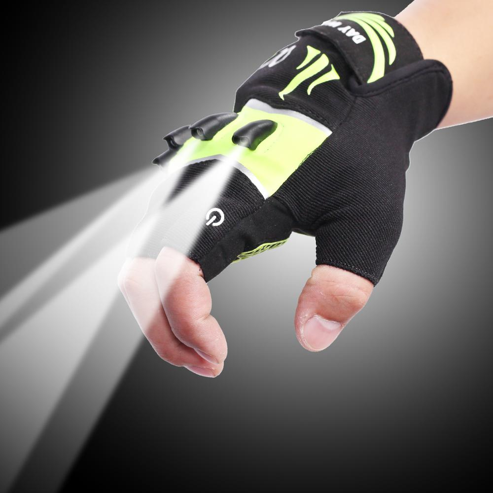 LED outdoor flashlight luminous fishing gloves lighting short finger with light gloves night fishing night running LED gloves