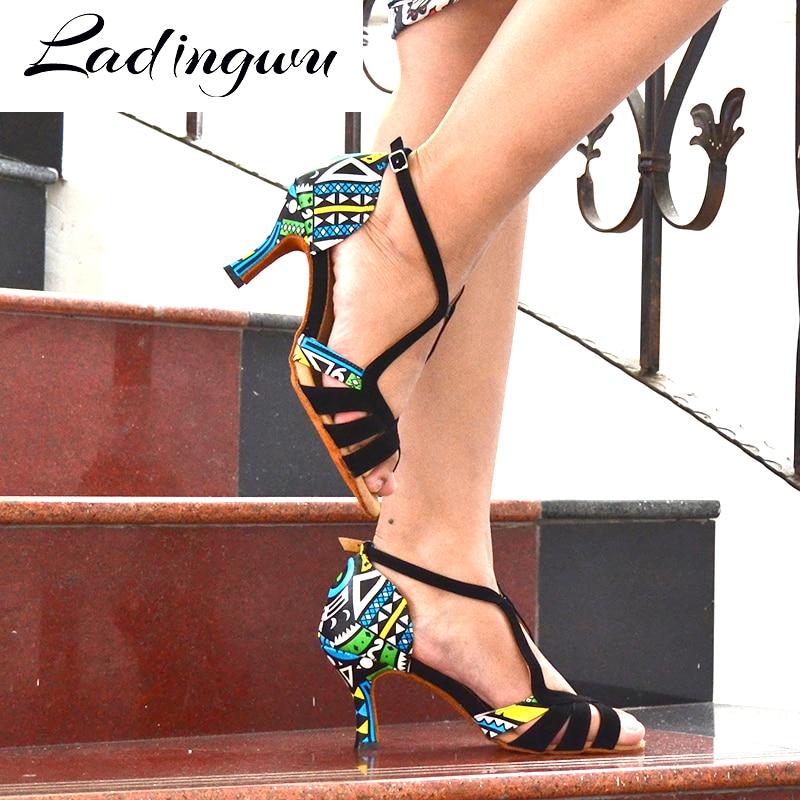Ladingwu Hot Women Dance Shoes Latin Ballroom Dance Shoes Ladys girls Salsa Dance Shoes Suede And Featured printed leather Heel
