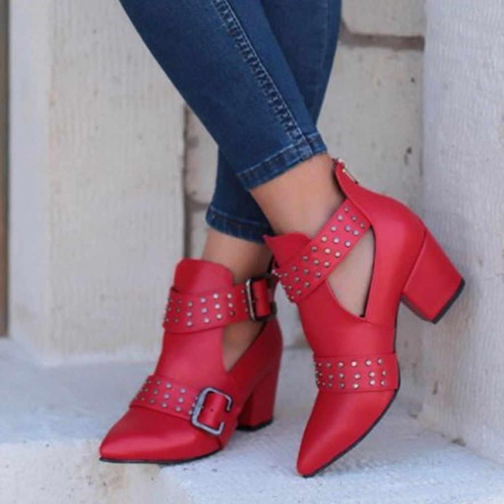 SAGACE kadın ayakkabısı kadın botları bayan Vintage ayak bileği ayakkabı kadın roma sivri burun rahat tek ayakkabı kısa çizmeler kadın perçin