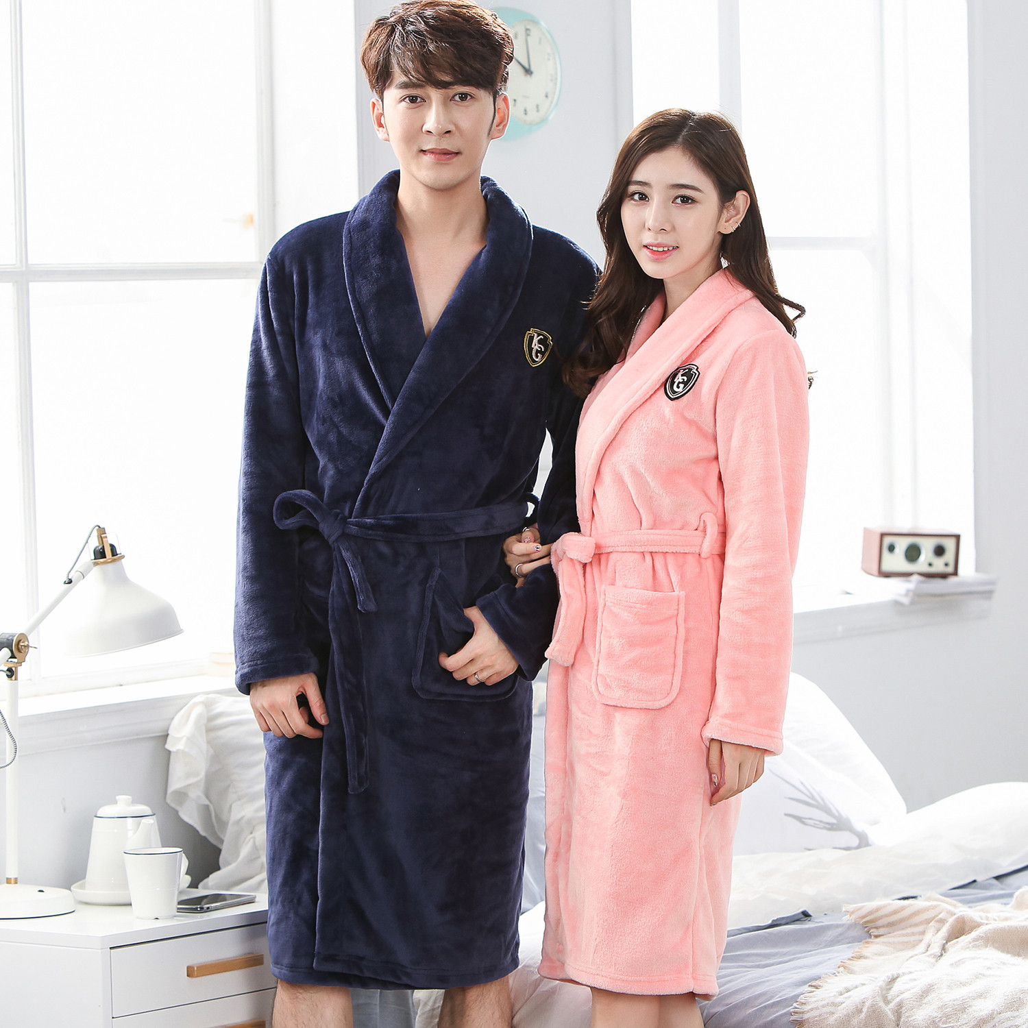 Men&women Robe Intimate Lingerie Solid Colour Kimono Bathrobe Gown Home Dressing Gown Coral Fleece Sleepwear Large Size 3XL