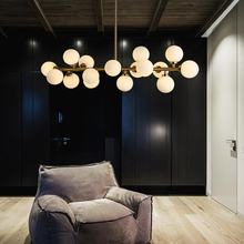 Arte moda feijão mágico led lustre lâmpada estrutura molecular sombra de vidro iluminação para sala estar restaurante lustres