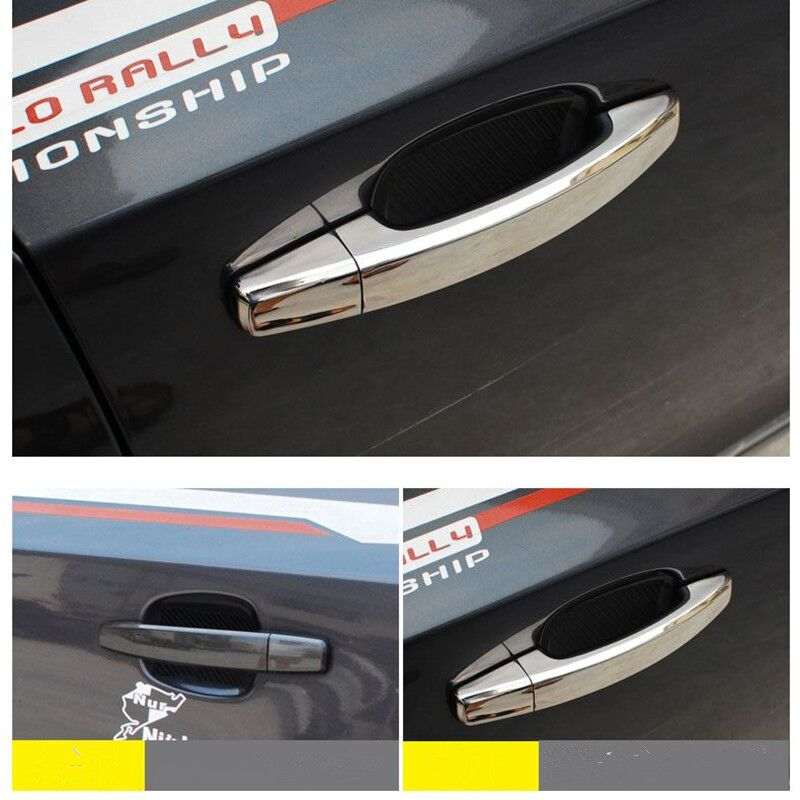 lowest price For Opel Corsa D Corsa E 2006 - 2014 Vauxhall Chrome Carbon Fiber Car Door Handle Cover Trim Stickers Styling Accessories