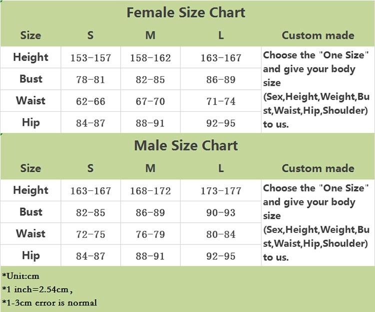 Female and Male Size Chart Obanai Costume