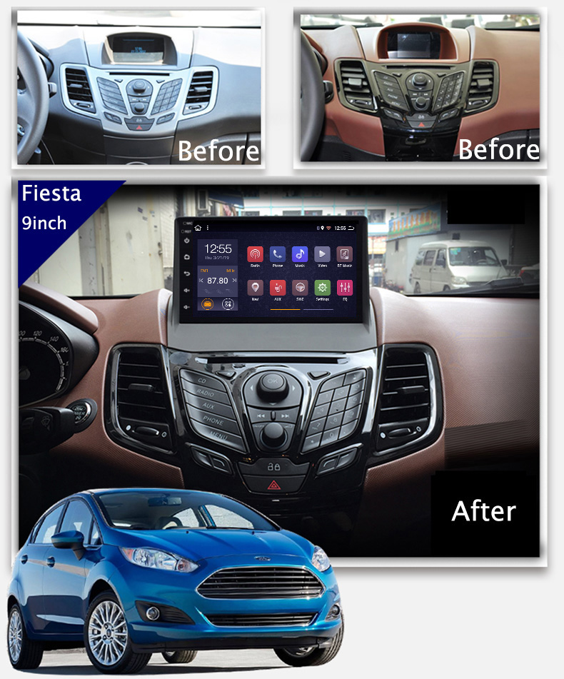9 Inch 2 5d Android 8 1 Car Dvd Gps Player For Ford Fiesta 2009 2017 Car Radio Stereo Head Unit Navigation Aliexpress