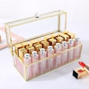 Image 3 - 24 Grids Gouden Rand Glas Lipstick Opslag Houders Koper Lipstick Make Up Cosmetische Organizer Glas Opbergdoos Met Deksel